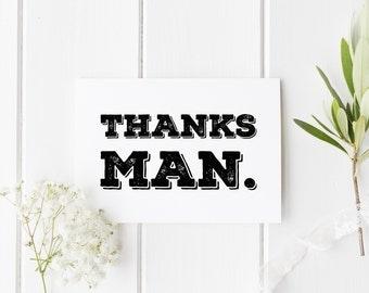 Best Man Card, Thanks Man Card, Wedding Card For Him, Thank You Best Man, Thankyou Groomsman Card, Wedding Thank You Card, Wedding Party