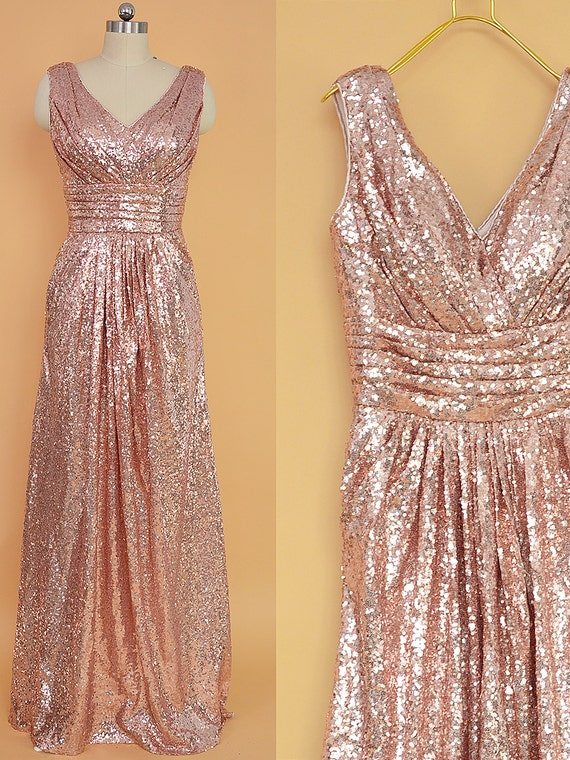 sequin bridesmaid dress rose gold long sequins by