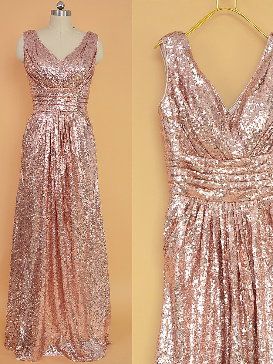 Sequin Bridesmaid Dress Rose Gold/ Long Sequins by ...