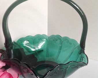 Vintage Green Glass BASKET Emerald LE SMITH Glassware