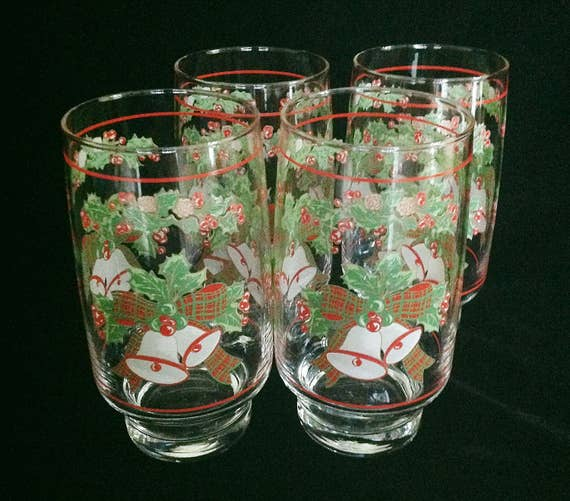 Christmas bells drinking glasses tumblers ounce water