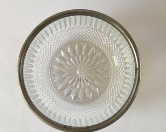 Vintage Crystal Serving Bowl with Silver Rim