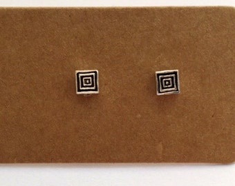Sterling Silver Square Stud Earrings   Sterling Silver   Stud Earrings   Square Earrings   Square Jewelry   Geometric   Minimalist Jewelry  