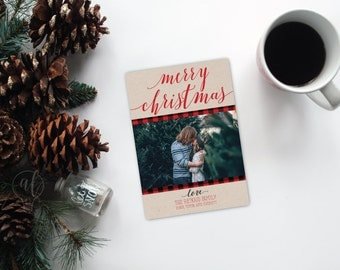 Merry Christmas Photo Christmas Card - Christmas Card - Photo Holiday card - photo card - christmas photo card - red plaid - calligraphy