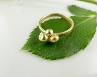 WCG008 18k Yellow Gold Water Cast Bubble Ring