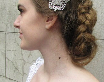 Large Art Deco Bridal Hair Clip Headpiece Diamante 1920s Rhinestone Vintage 4AO