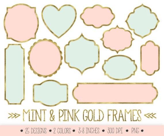 gold frames clipart mint and gold glitter foil labels clip art sparkly scrapbook borders metallic digital frames golden pink and mint - Mint Picture Frames