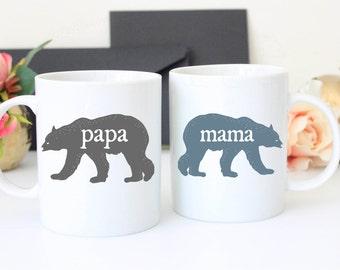 Set of Papa and Mama Bear Coffee Mugs | 11 oz Coffee Cups