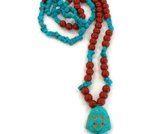 Long Turquoise Necklace, Turquoise Stone Necklace, Long Gemstone Necklace, Turquoise Gemstone Necklace, Long Boho Necklace, Beaded Necklace