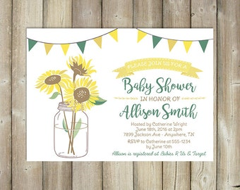 Sunflower Baby Shower Invitation   Sunflowers In Mason Jar Baby Shower  Invite   DIGITAL FILE