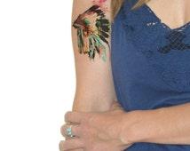Temporary Tattoo Headdress - Native, Feather, Watercolor, Native American, Unique