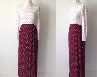 Vintage 70s Dress, Boho, Star Dress, 70s Maxi dress, Hipster Dress, Long Dress, White Dress, Star Pattern Dress, Vintage  Dress, Size 10