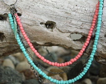 Layered Coral and Teal Necklace