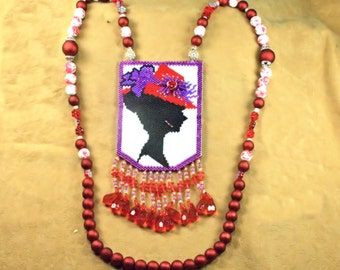 Red Hat Lady Silohouette pooch Necklace