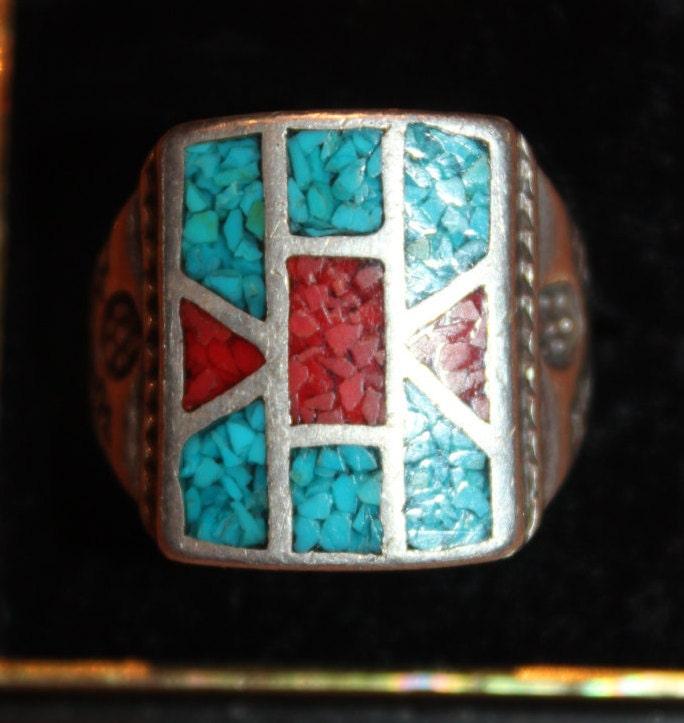 Mens Silver Ring Navajo Native American Heavy 18 Grams Mens