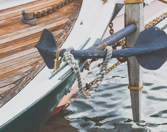 Sailboat Nautical Coastal Photography Anchor, Sail Boat Photography Beach House Decor, Marine Coastal Art Decor Maritime Sailing Anchors