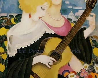 "Gerda Wegener ""Air de Capri"" Woman Playing the Guitar 1923  Reproduction Digital Print  Wall Decor Vintage Home Decor Art Nouveau"