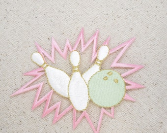 Pastel - Bowling - Ball with Pins Crashing - Iron on Applique - Embroidered Patch - 240298A