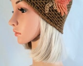 Crochet Hat for Woman, winter style, model Autumn Dream with multicolor leaf, handmade, made in Italy