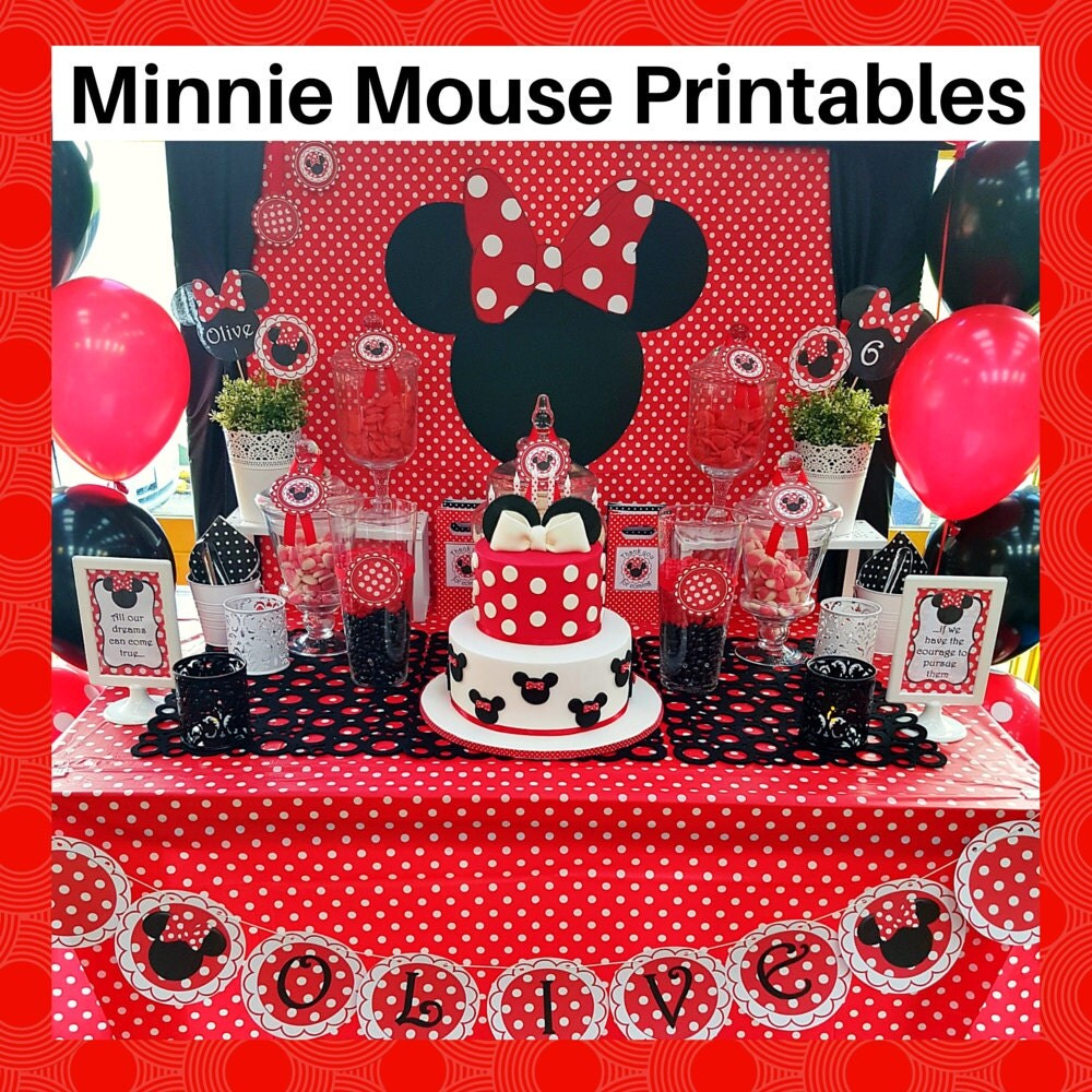 Red Minnie Mouse Printable Set FREE Customization