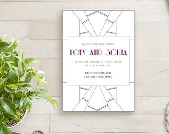 Art Deco Printable Wedding Invitation Template| Gatsby wedding invitation | Art Deco invitation | DIY invitation. Art Deco wedding