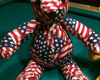 Handmade Americana Teddy Bear. Free Shipping! Code:freeship