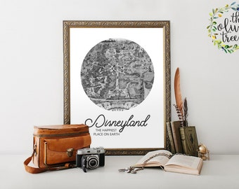 Famous City Nicknames Map print, map wall art decor, INSTANT DOWNLOAD - Dineyland - Happiest Place on Earth