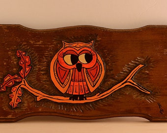 Owl Wood Carved Plaque Wall Art