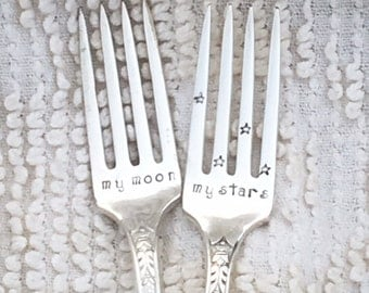 Hand Stamped Wedding Forks - My moon & My stars