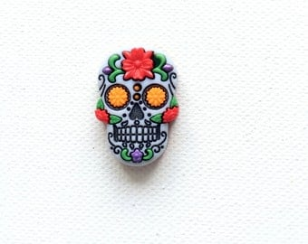 Sugar Skull Pin - Red - Day of the Dead - Calavera - Tie Tack - ID Badge Pal - Halloween Jewelry