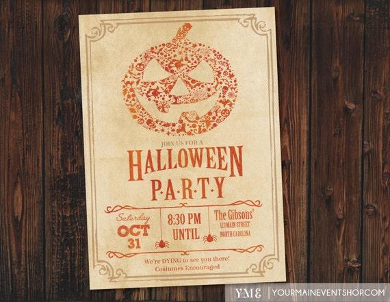 Halloween Party Invitation / Halloween Pumpkin Invite / Pumpkin Carving Party / Halloween Bash / Costume Party