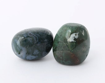 Moss Agate Tumbled Stone Polished, Set of 2 pieces, The Heart Chakra Stone,  Healing Crystal, Green Mineral Collection, Energy Stone