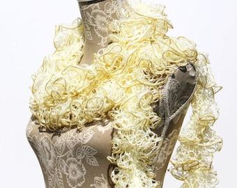 Beige Scarf, Ruffle Scarf, Crochet Scarf, Scarf, Gold Scarf, Crochet Ruffled Scarf, Frilly Scarf, Sashay Scarf, Handmade Scarf, Gift for Her