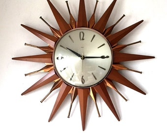 Rare 1960s Iconic Metamec Modernist sunburst starburst wall clock