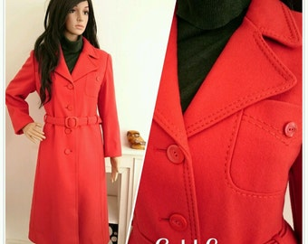 Vintage 60s 70s Allander Wool Long Red Belted Coat Mod Boho / UK 10 12 / EU 38 40 / US 6 8