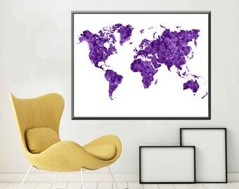 Purple World Map Large World Map Decor World map Art  A1 Poster World Map A2 Poster World Map Watercolor Map Print