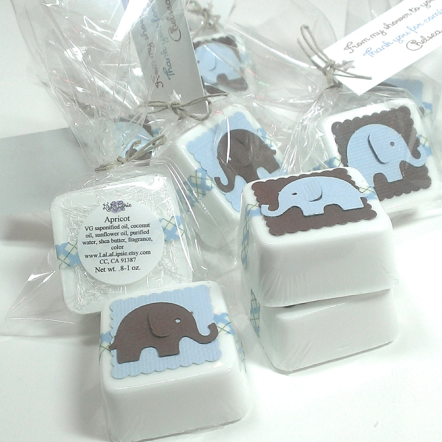 Baby Shower Favors Blue ~ Brown and baby blue elephant soap shower favors