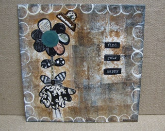 mixed media art happy art art with a message flower art floral art orintal painting