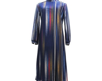 Vintage vertical sriped long sleeve autumn dress, medium to large size dark blue white, yellow, red Polyester fabric, 1970s made in Austria