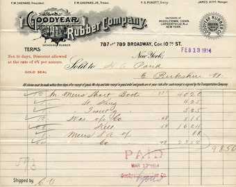 1914 Goodyear Rubber Company Illustrated Billhead Manufacturer of Rubber Boots NYC to East Berkshire Vermont March - 6373Pd