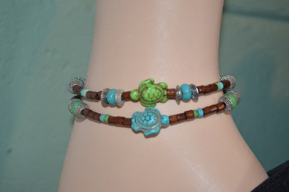 Ankle Bracelet or Bracelet Turtles, Wood Bead & Turtle Anklet, Sea Turtle Anklet, Turtle Anklet, Sea Turtle Bracelet, 2 Strand Turtle Anklet