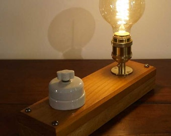 vintage bulb, wooden lamp.