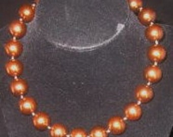 Vintage Double Knotted Bronze Colored Beads- J Hook Clasp