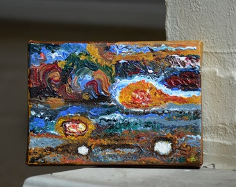 The Great Red Spot of Jupiter Acrylic Paint on Mini Canvas