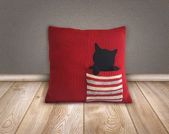 CHRISTMAS GIFT, Knitted Pillow Cover, EXPRESS Shipping, Cushion Cover, Cat Lovers, Xmas Gift, Cat Pillows, Home Decor, Nursery Pillow Cover