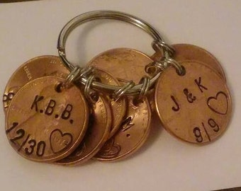 Hand Stamped Penny key chain charm custom date or Initials, Wedding, Anniversary, Birthday or any other Holiday - great personal gift!