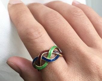1960s Braided Enamel 18K Ring
