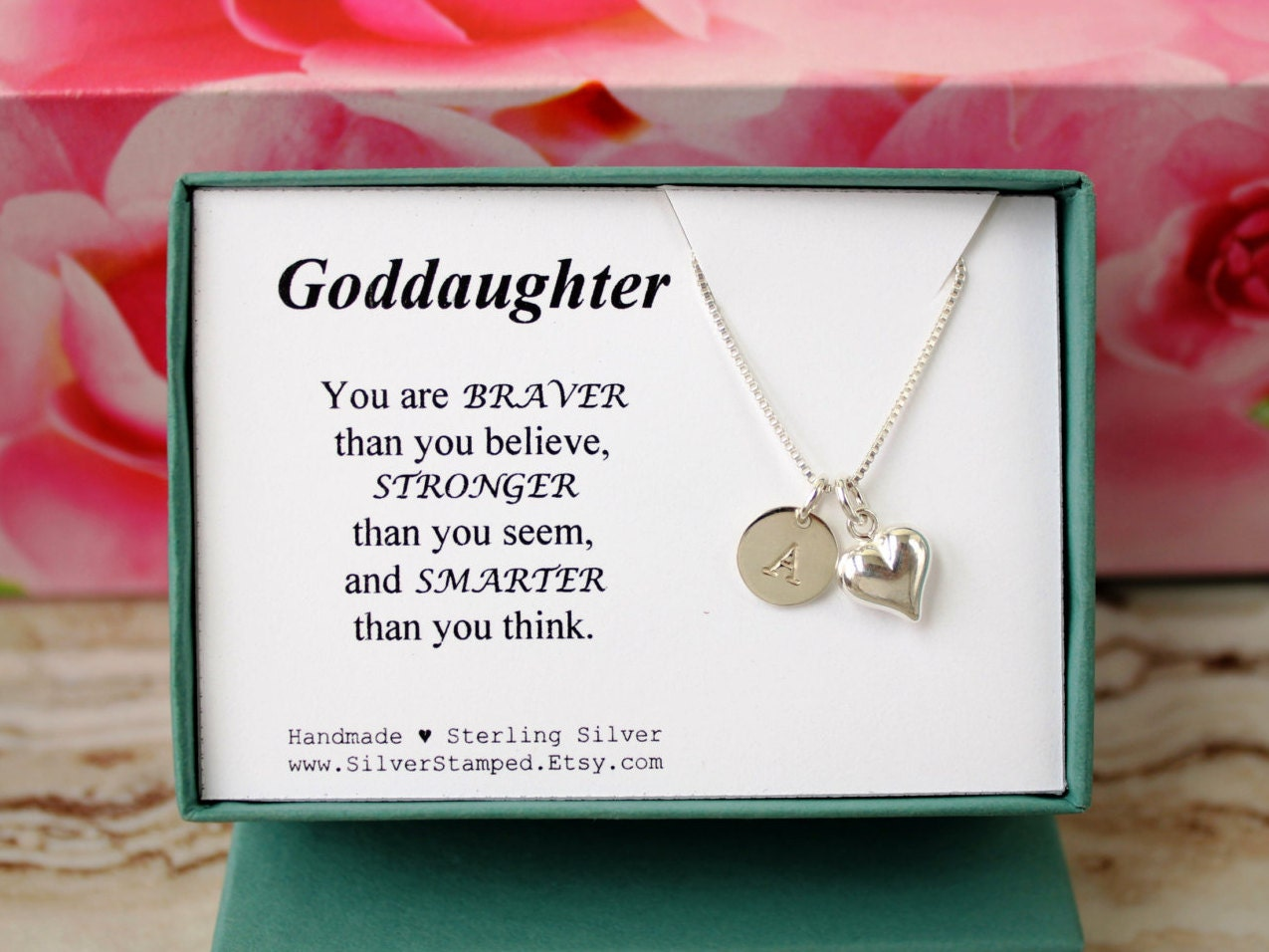 Gift For Goddaughter Birthstone Necklace Sterling By: Gift For Goddaughter Necklace Sterling Silver By SilverStamped