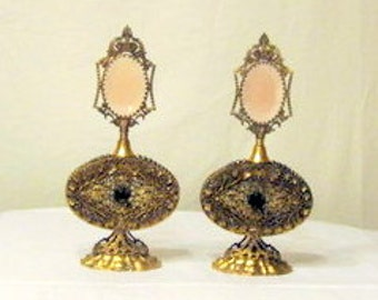 Magnificent Gilded Brass Matching Perfume Bottles by the Apollo Studios, New York