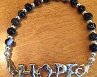 Black Line Agate Bracelet